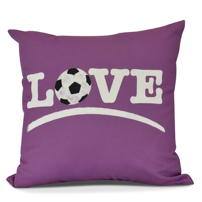 Bauer Love Soccer Word Outdoor Throw Pillow Size: 18 H x 18 W, Color: Pink