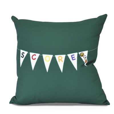 Bauer Score! Word Throw Pillow Size: 16 H x 16 W, Color: Green