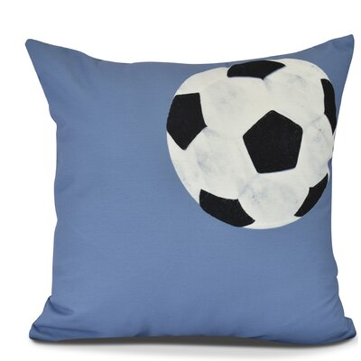Bauer Soccer Ball Outdoor Throw Pillow Size: 18 H x 18 W, Color: Blue