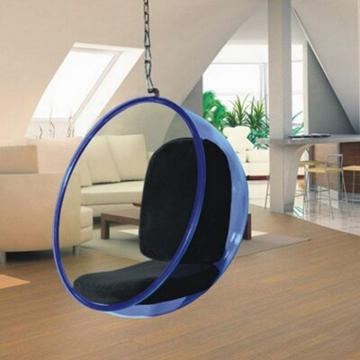 Andrew Bubble Balloon Chair Frame Color: Transparent Blue, Upholstery: Black