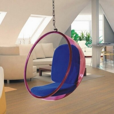 Andrew Bubble Balloon Chair Frame Color: Transparent Pink, Upholstery: Blue
