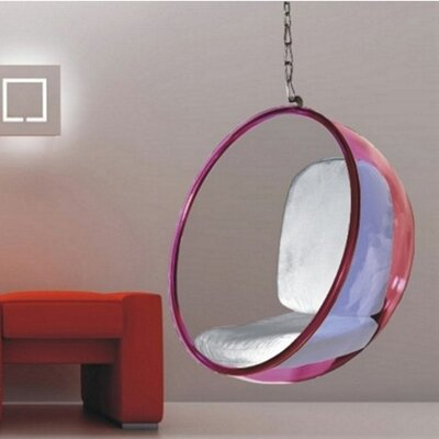 Andrew Bubble Balloon Chair Frame Color: Transparent Pink, Upholstery: Silver
