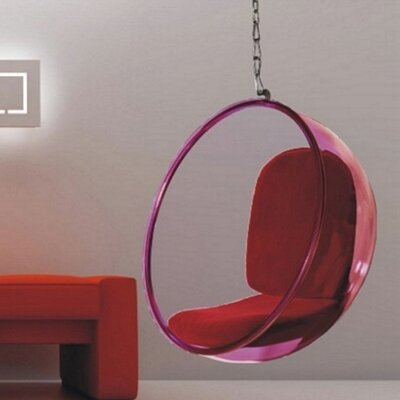 Andrew Bubble Balloon Chair Frame Color: Transparent Pink, Upholstery: Red