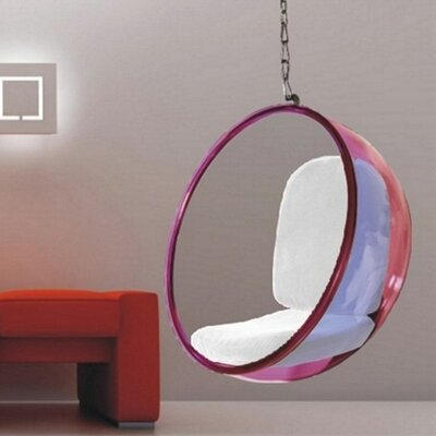 Andrew Bubble Balloon Chair Frame Color: Transparent Pink, Upholstery: White