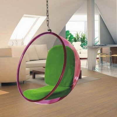 Andrew Bubble Balloon Chair Frame Color: Transparent Pink, Upholstery: Green