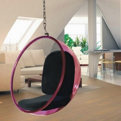 Andrew Bubble Balloon Chair Frame Color: Transparent Pink, Upholstery: Black