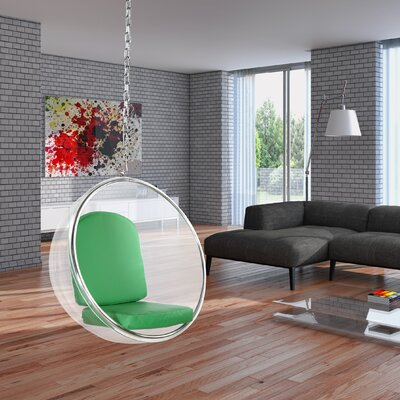 Andrew Bubble Balloon Chair Upholstery: Green, Finish: Transparent Clear
