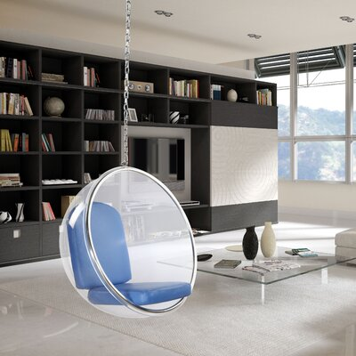 Andrew Bubble Balloon Chair Frame Color: Transparent Clear, Upholstery: Light Blue