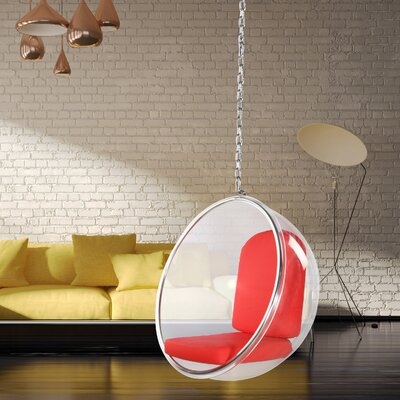 Andrew Balloon Chair Upholstery: Red, Color: Transparent Clear