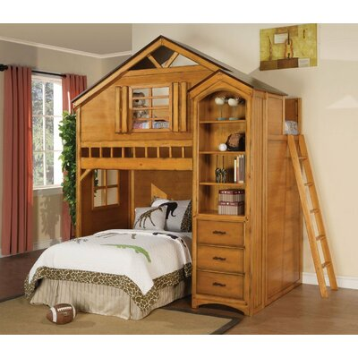 Mila Twin Loft Bed Bed Frame Color: Rustic Oak