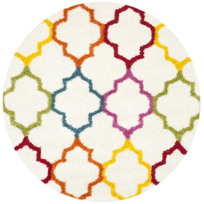 Madge Moroccan Ivory Area Rug Rug Size: Round 67