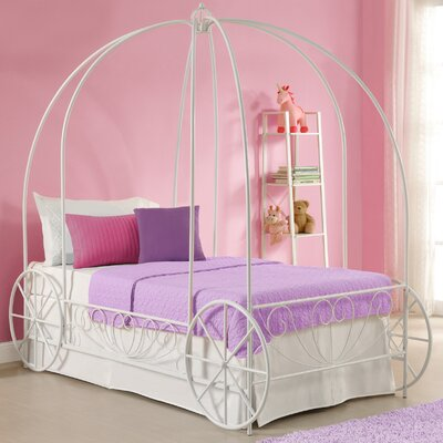 Brandy Twin Canopy Bed Color: White