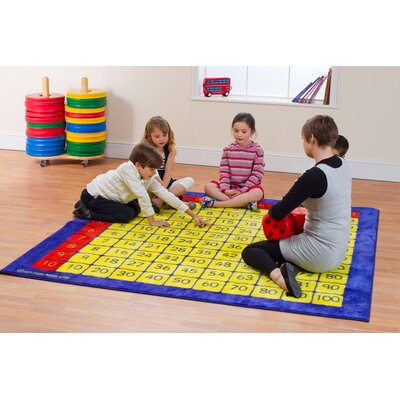 Brenna 100 Square Multiplication Grid Kids Rug