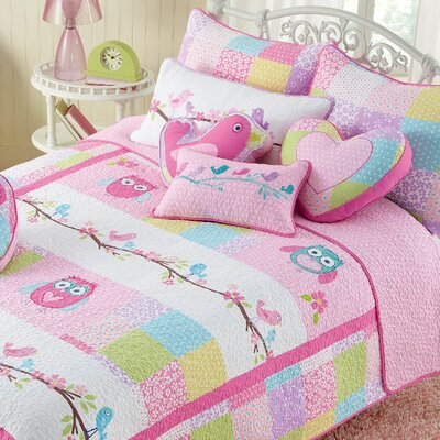 Bryce Pink Owl Quilt Set Size: Full/Queen