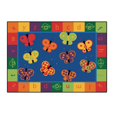 Camila 123 ABC Butterfly Fun Kids Area Rug Rug Size: Rectangle 310 x 55