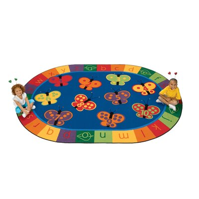 Camila 123 ABC Butterfly Fun Kids Area Rug Rug Size: Oval 310 x 55