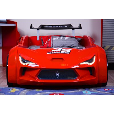 Mia Kids Race Car Bed with Euro Twin Mattress Color: Red