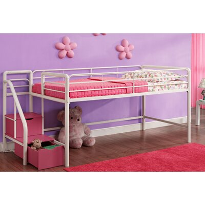 Catalina Junior Twin Loft Bed with Storage Finish: White/Pink