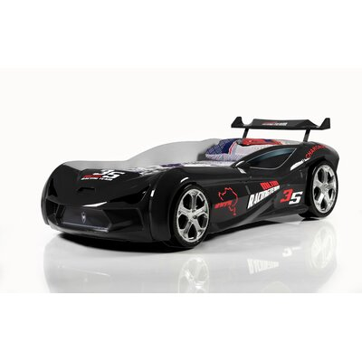 Mia Kids Race Car Bed with Euro Twin Mattress Color: Black