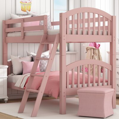 Susie Twin over Twin Bunk Bed Color: Pink