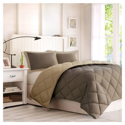 Jamey Reversible Comforter Set Size: Twin / Twin XL, Color: Brown / Sand