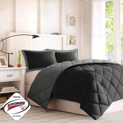 Jamey Reversible Comforter Set Size: Full / Queen, Color: Black / Gray