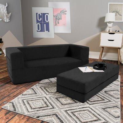 Duncan Big Kids Convertible Sleeper Sofa and Ottoman Color: Black ZMIE3882 40163324