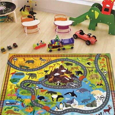 Weranna Animal Safari Road Map Educational Learning Yellow/Blue Indoor/Outdoor Area Rug Rug Size: 82 x 910