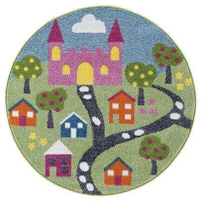Gulf Fairytale Green/Blue/Pink Area Rug Rug Size: Round 48