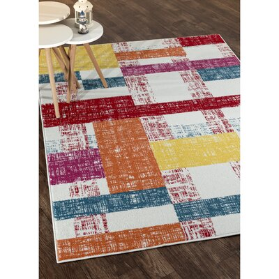 Gulf Cream/Red/Blue Area Rug Rug Size: Rectangle 5 x 7