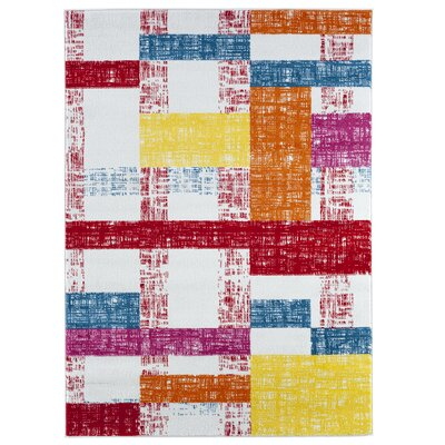 Gulf Cream/Red/Blue Area Rug Rug Size: Rectangle 36 x 56