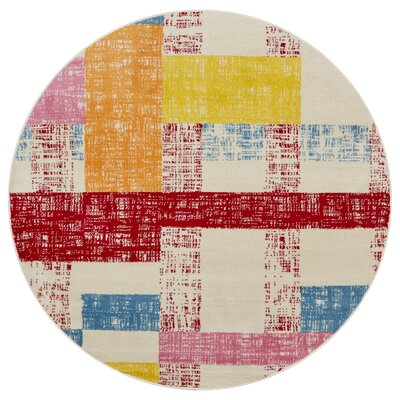 Gulf Cream/Red/Blue Area Rug Rug Size: Round 48