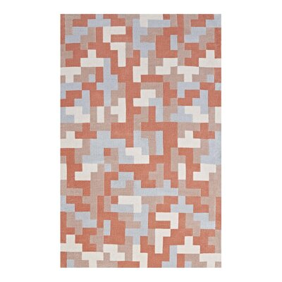 Hartshorn Coral/Light Blue Area Rug Rug Size: Rectangle 8 x 10