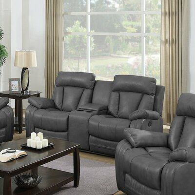 Benjamin Leather Reclining Sofa with Console