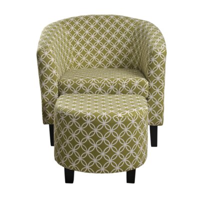 Paisley Barrel Chair and Ottoman Upholstery: Green