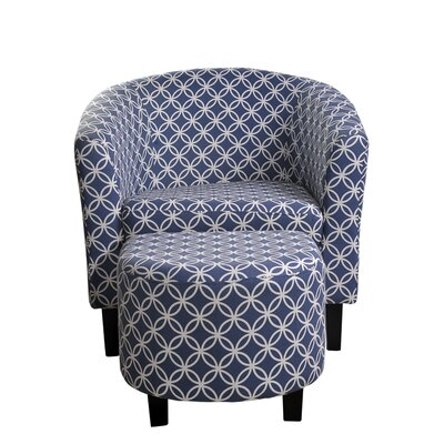 Paisley Barrel Chair and Ottoman Upholstery: Dark Blue