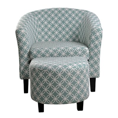 Paisley Barrel Chair and Ottoman Upholstery: Light Blue