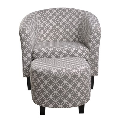 Paisley Barrel Chair and Ottoman Upholstery: Gray