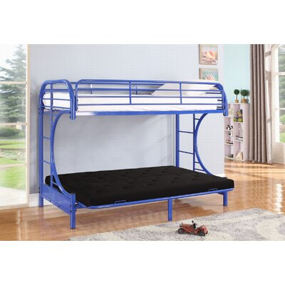 Jordan Twin Over C Futon Bunk Bed Color: Blue