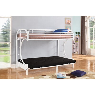 Jordan Twin Over C Futon Bunk Bed Color: White