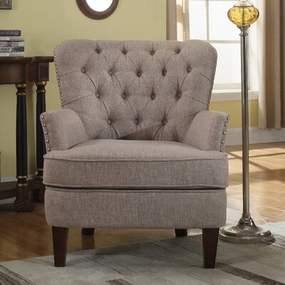 Brazell Nailhead Button Tufted Armchair Upholstery: Taupe