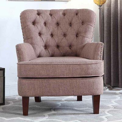 Brazell Nailhead Button Tufted Armchair Upholstery: Brown