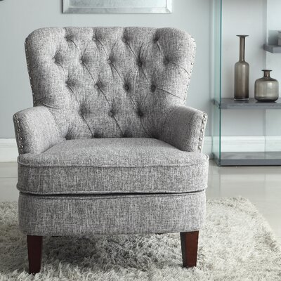 Brazell Nailhead Button Tufted Armchair Upholstery: Gray White