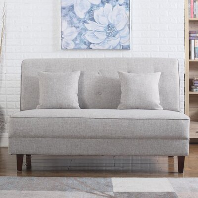 Dorsey Button Tufted Loveseat Upholstery: Light Brown