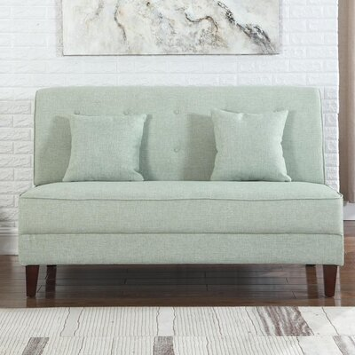 Dorsey Button Tufted Loveseat Upholstery: Green