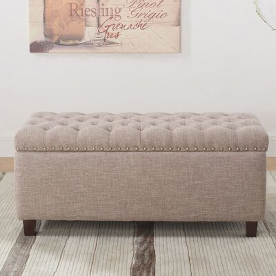 Brazil Nailhead Button Tufted Storage Ottoman Upholstery: Taupe