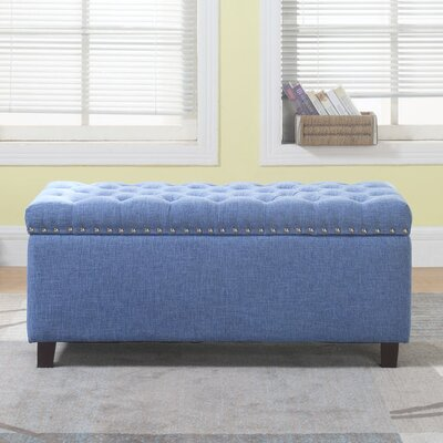 Brazil Nailhead Button Tufted Storage Ottoman Upholstery: Blue