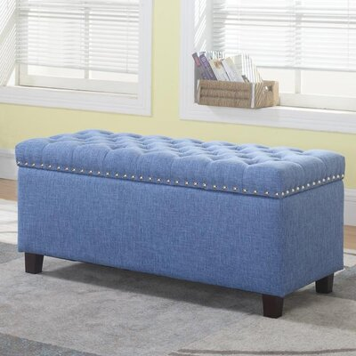 Brazil Upholstered Storage Bench Upholstery: Blue