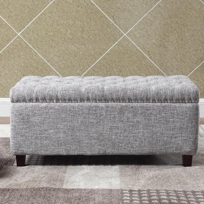 Brazil Nailhead Button Tufted Storage Ottoman Upholstery: Gray White