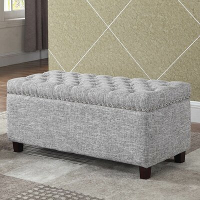 Brazil Upholstered Storage Bench Upholstery: Gray White